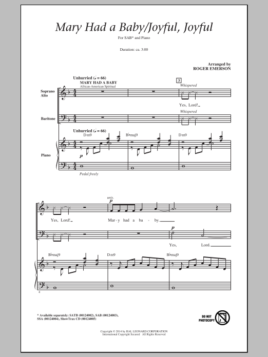 Partition chorale Mary Had A Baby/ Joyful, Joyful de Roger Emerson - SAB