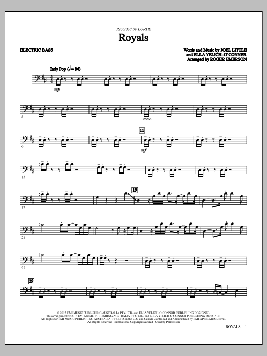 Sheet Music Digital Files To Print - Licensed Lorde Digital Sheet Music