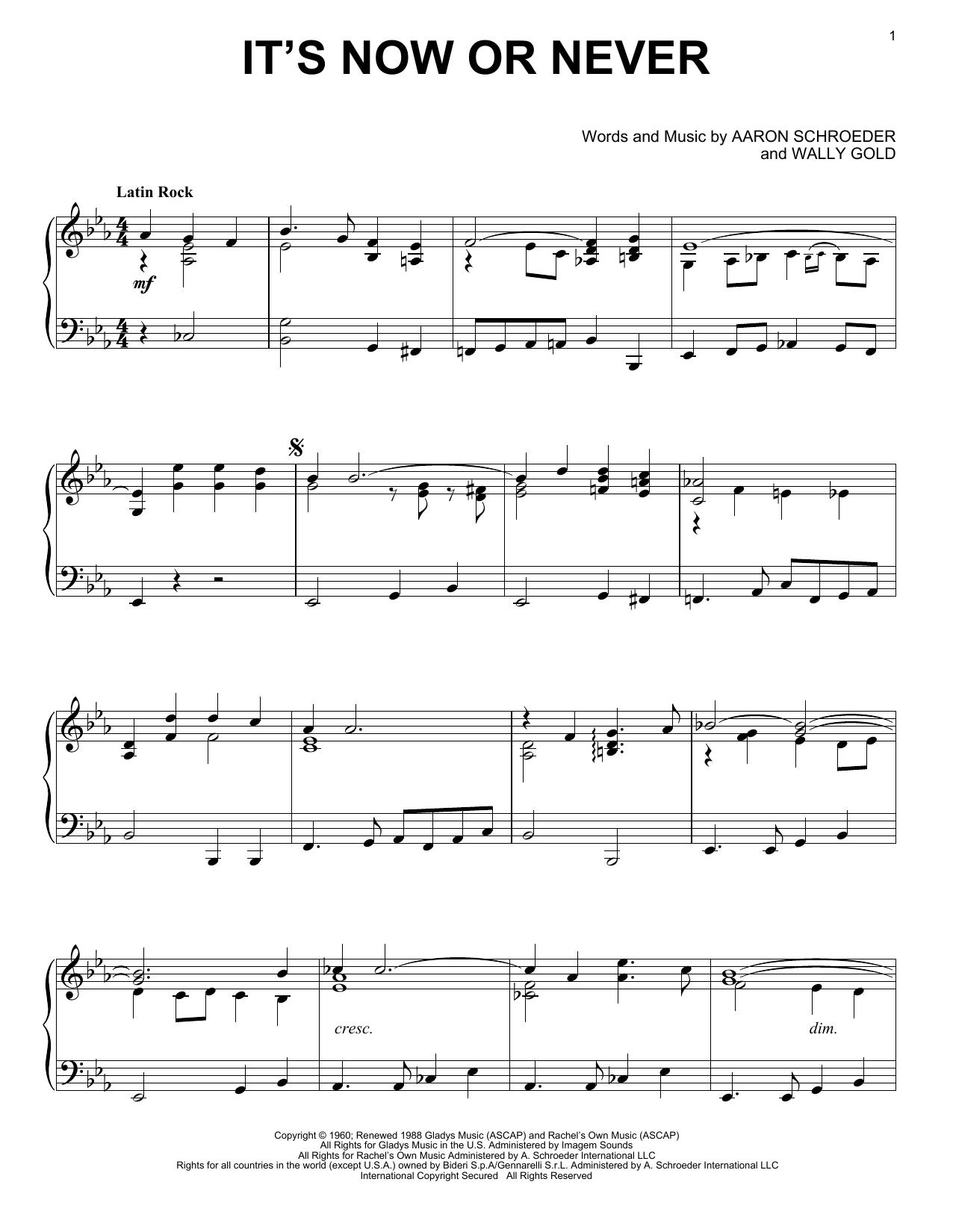 Partition piano It's Now Or Never de Elvis Presley - Piano Solo