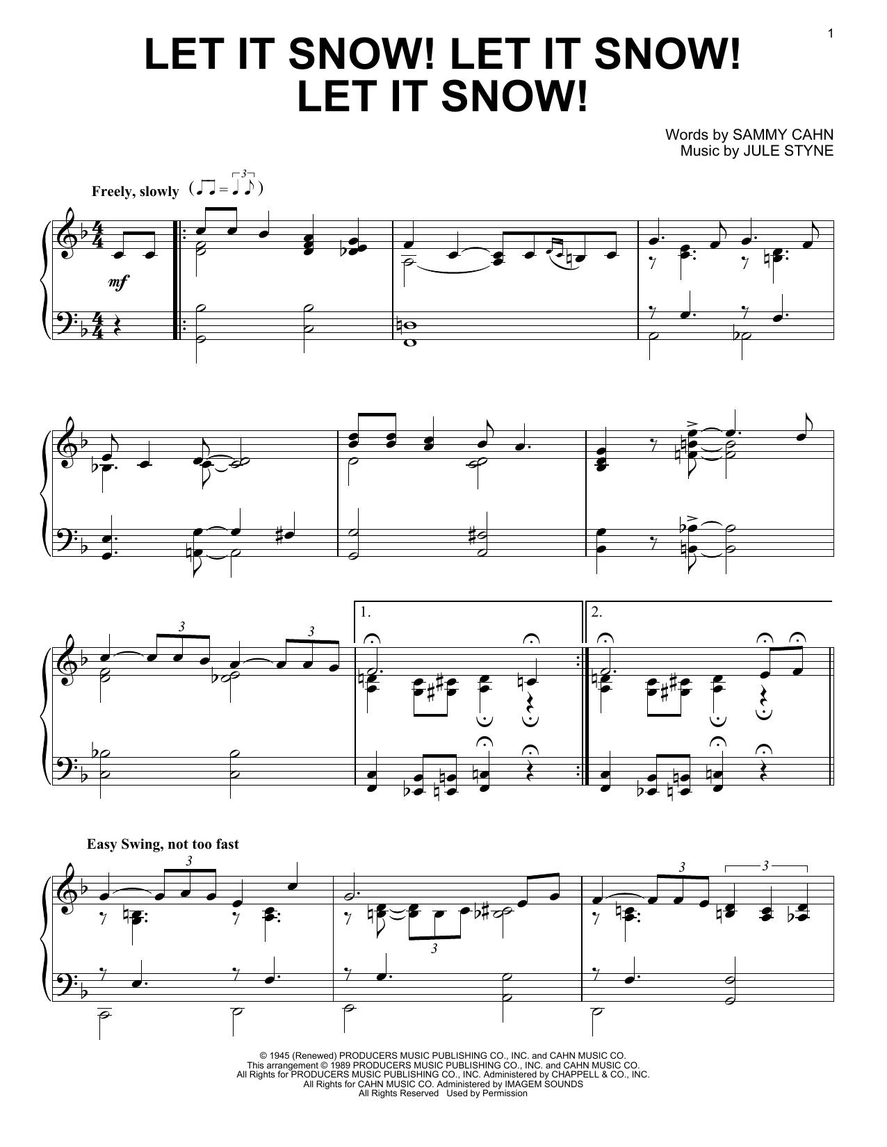Partition piano Let It Snow! Let It Snow! Let It Snow! de Sammy Cahn - Piano Solo
