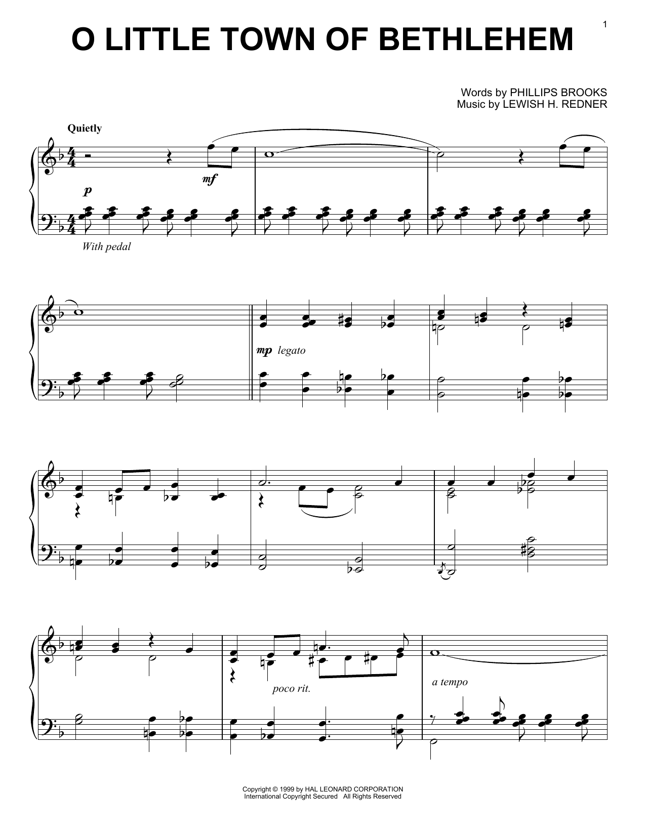 Partition piano O Little Town Of Bethlehem de Phillips Brooks - Piano Solo
