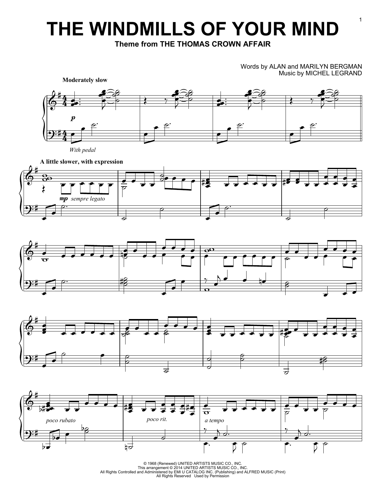 The Windmills Of Your Mind sheet music for piano solo by Marilyn Bergman