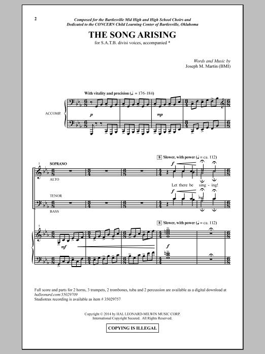 Partition chorale The Song Arising de Joseph M. Martin - SATB