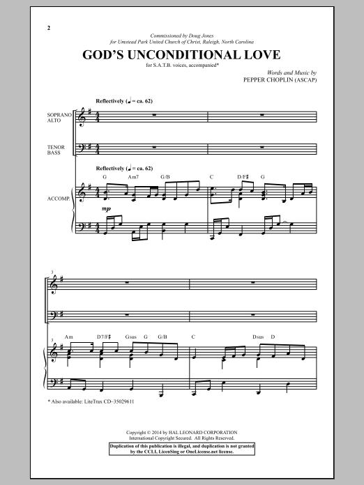 Partition chorale God's Unconditional Love de Pepper Choplin - SATB