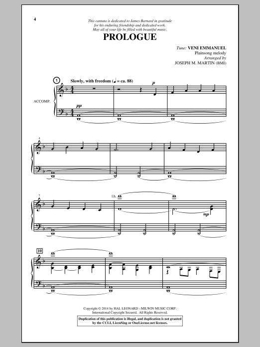 Partition chorale Prologue (O Come, O Come, Emmanuel) de Joseph M. Martin - SATB
