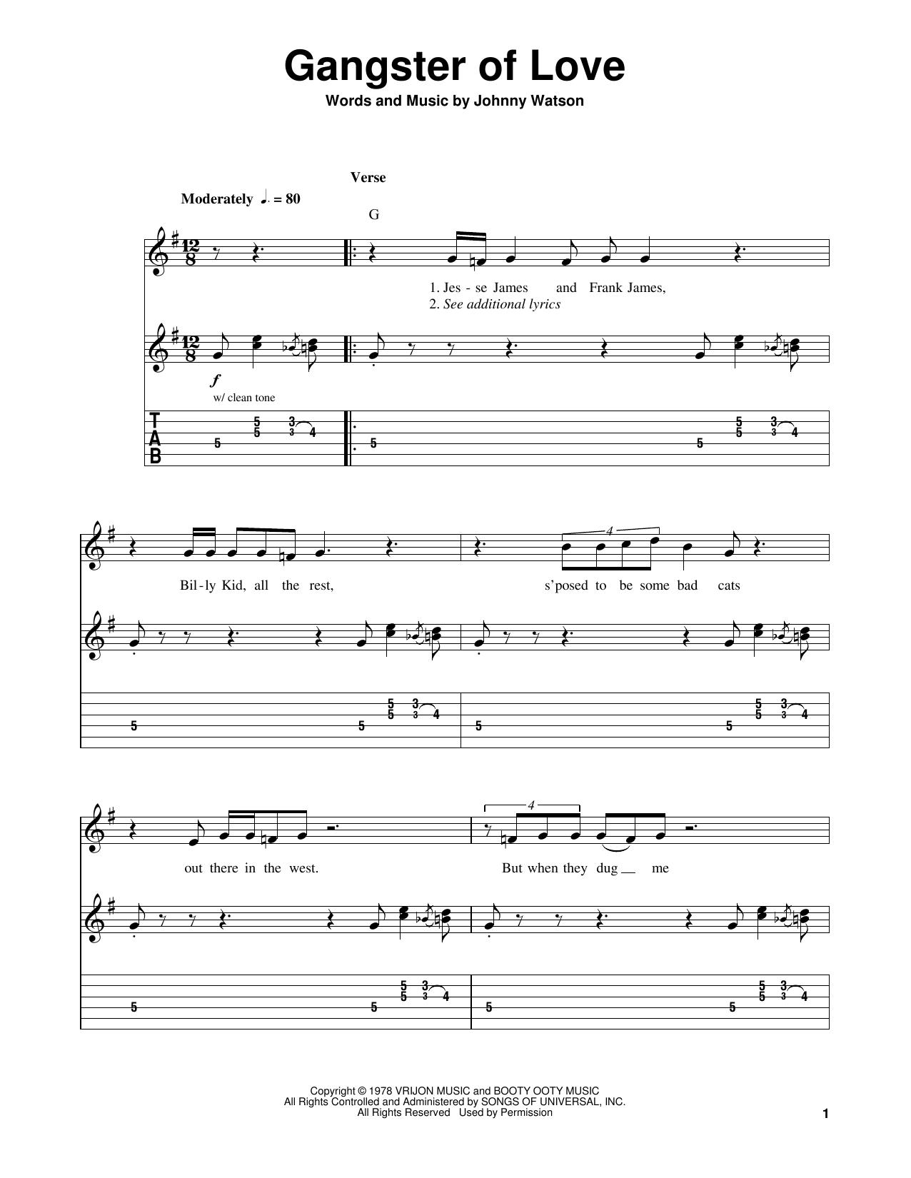 "Tablature guitare Gangster Of Love de Johnny ""Guitar"" Watson - Tablature guitare facile"