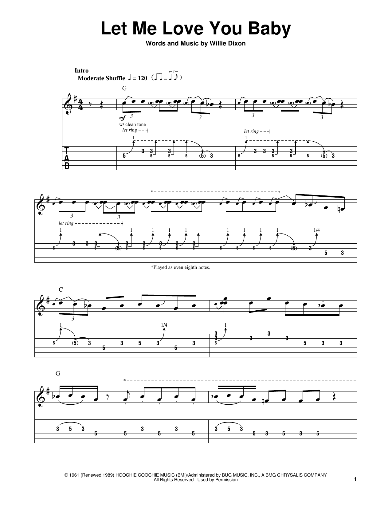 Tablature guitare Let Me Love You Baby de Stevie Ray Vaughan - Tablature guitare facile