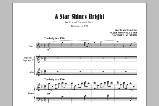 Partition chorale A Star Shines Bright de Mary Donnelly - SSA