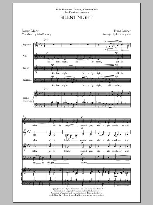 Partition chorale Silent Night (arr. Ivo Antognini) de Ivo Antognini - SATB