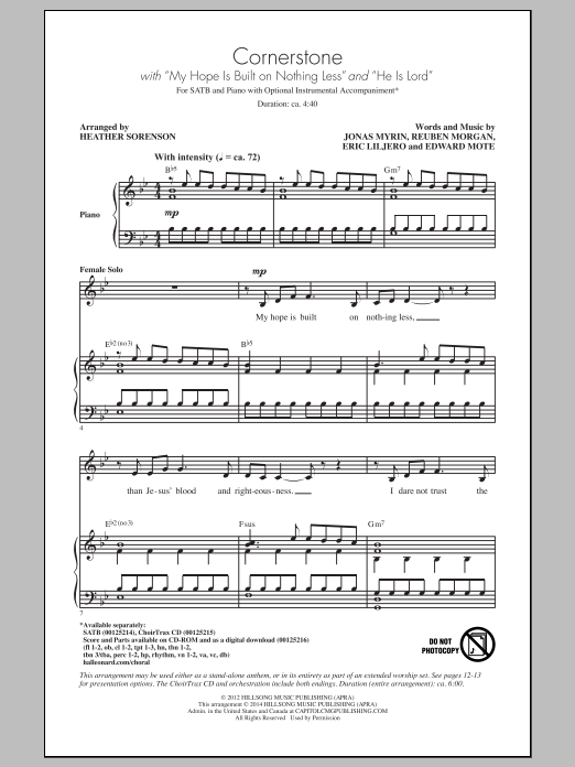 Partition chorale Cornerstone (arr. Heather Sorenson) de Traditional - SATB