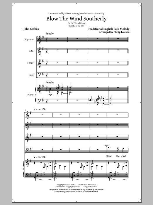 Partition chorale Blow The Wind Southerly (arr. Philip Lawson) de John Stobbs - SATB