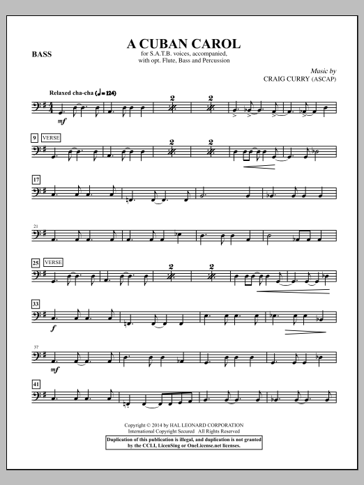A Cuban Carol (complete set of parts) sheet music for orchestra/band by Craig Curry