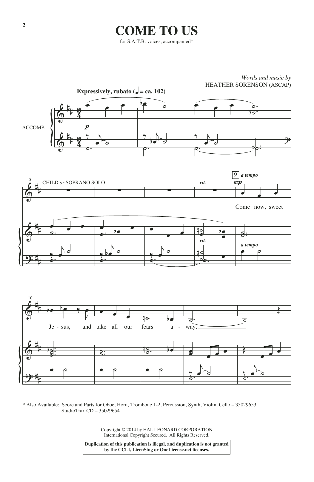 Partition chorale Come To Us de Heather Sorenson - SATB