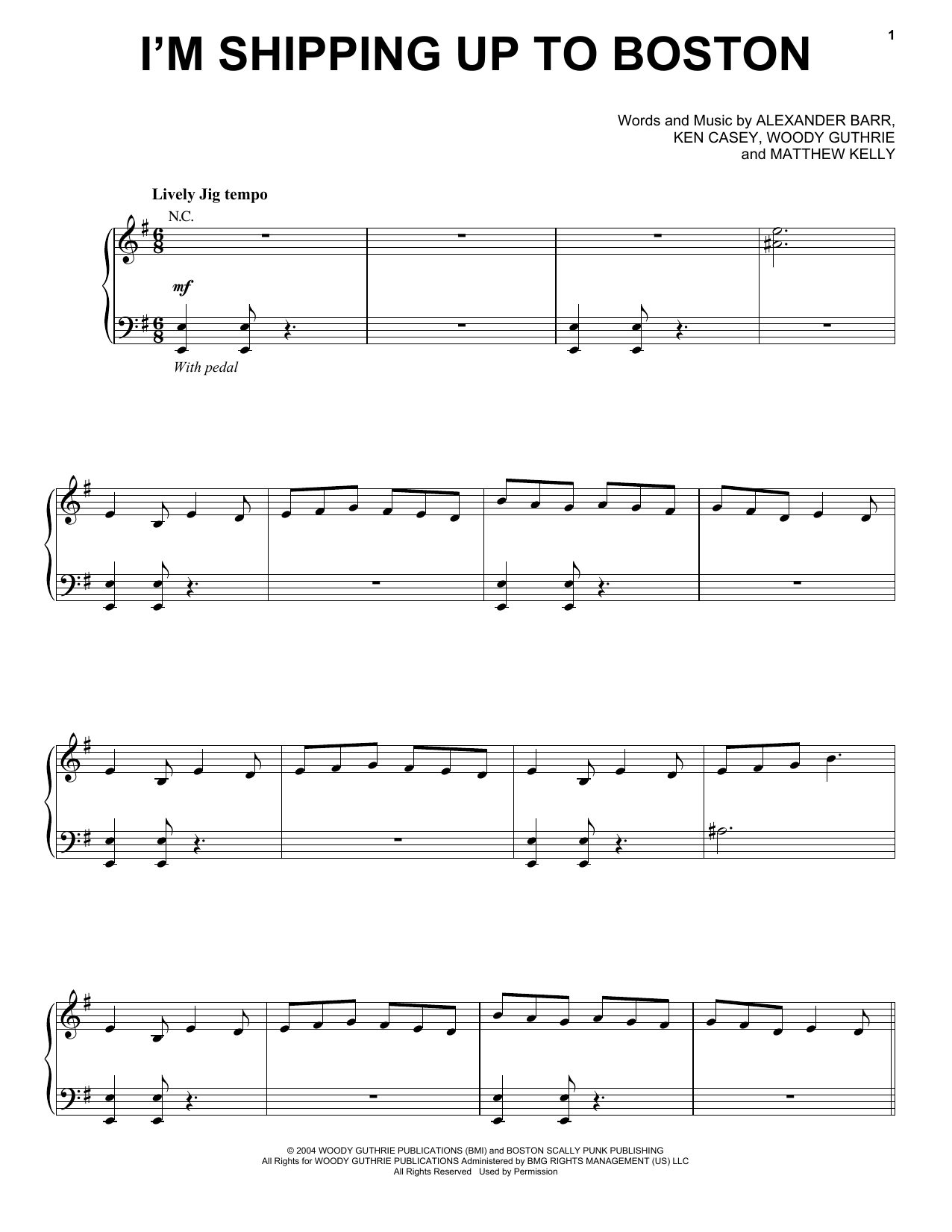 Partition piano I'm Shipping Up To Boston de Dropkick Murphys - Piano Voix Guitare (Mélodie Main Droite)