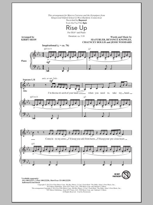Partition chorale Rise Up de Beyoncé - SSA