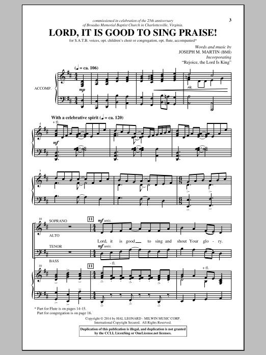 Partition chorale Lord, It Is Good To Sing Praise! de Joseph M. Martin - SATB