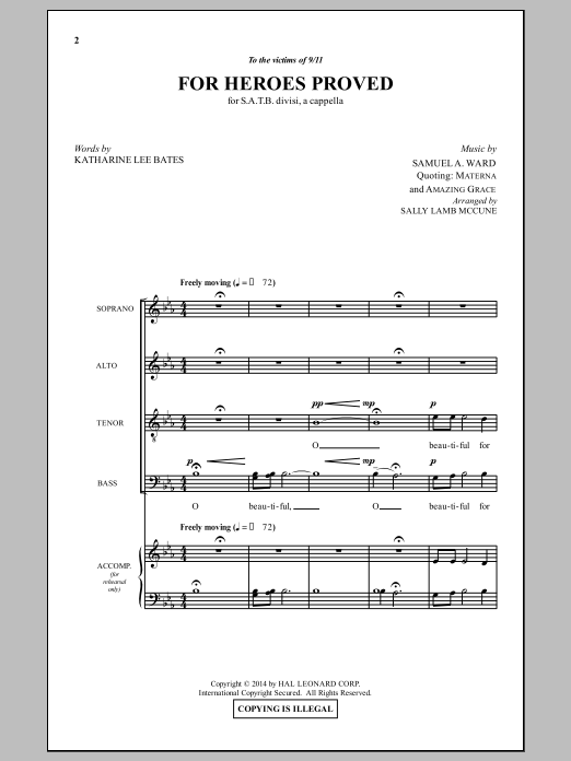 Partition chorale For Heroes Proved (arr. Sally Lamb McCune) de Samuel A. Ward - SATB