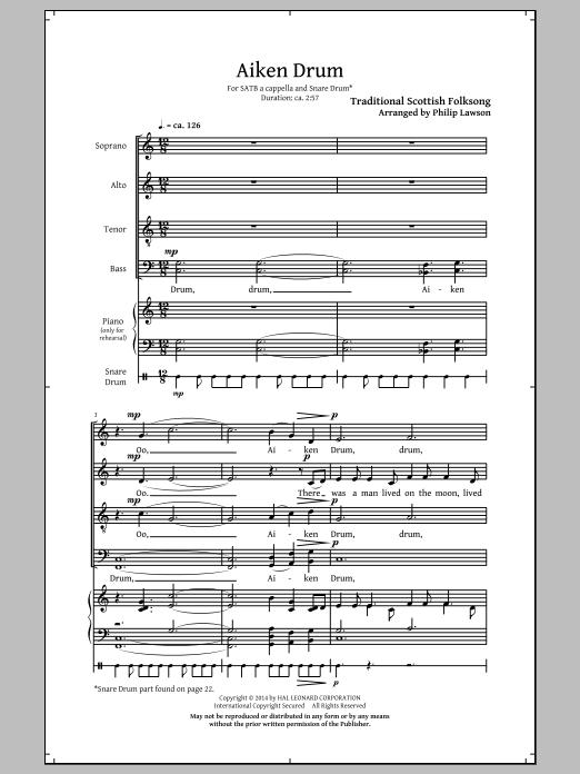 Partition chorale Aiken Drum (arr. Philip Lawson) de  - SATB