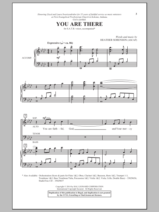 Partition chorale You Are There de Heather Sorenson - SATB