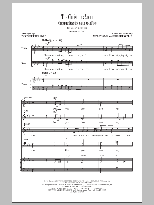 The Christmas Song (Chestnuts Roasting On An Open Fire) sheet music for choir and piano (SATB) by Mel Torme