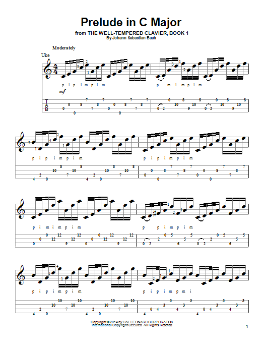 Tablature guitare Prelude in C Major de Johann Sebastian Bach - Ukulele