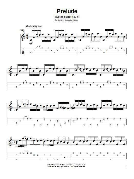 Tablature guitare Prelude (Cello Suite No. 1) de J.S. Bach - Ukulele