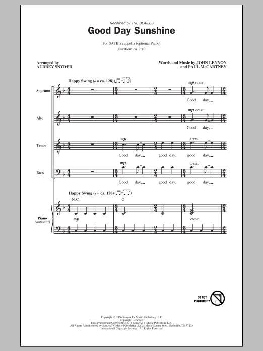 Partition chorale Good Day Sunshine (arr. Audrey Snyder) de The Beatles - SATB