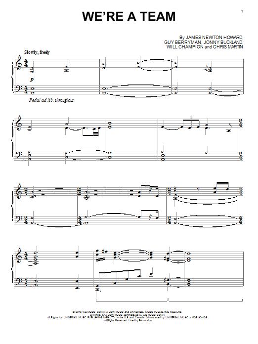 Partition piano We're A Team de Coldplay - Piano Solo