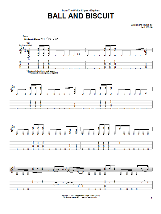 Tablature guitare Ball And Biscuit de The White Stripes - Tablature Guitare