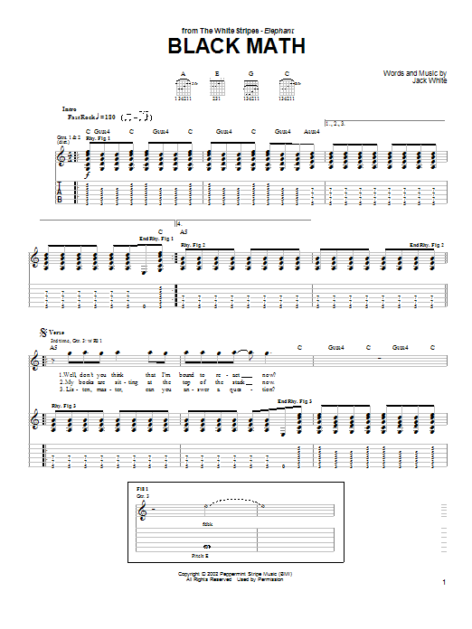 Black Math by The White Stripes - Guitar Tab - Guitar Instructor