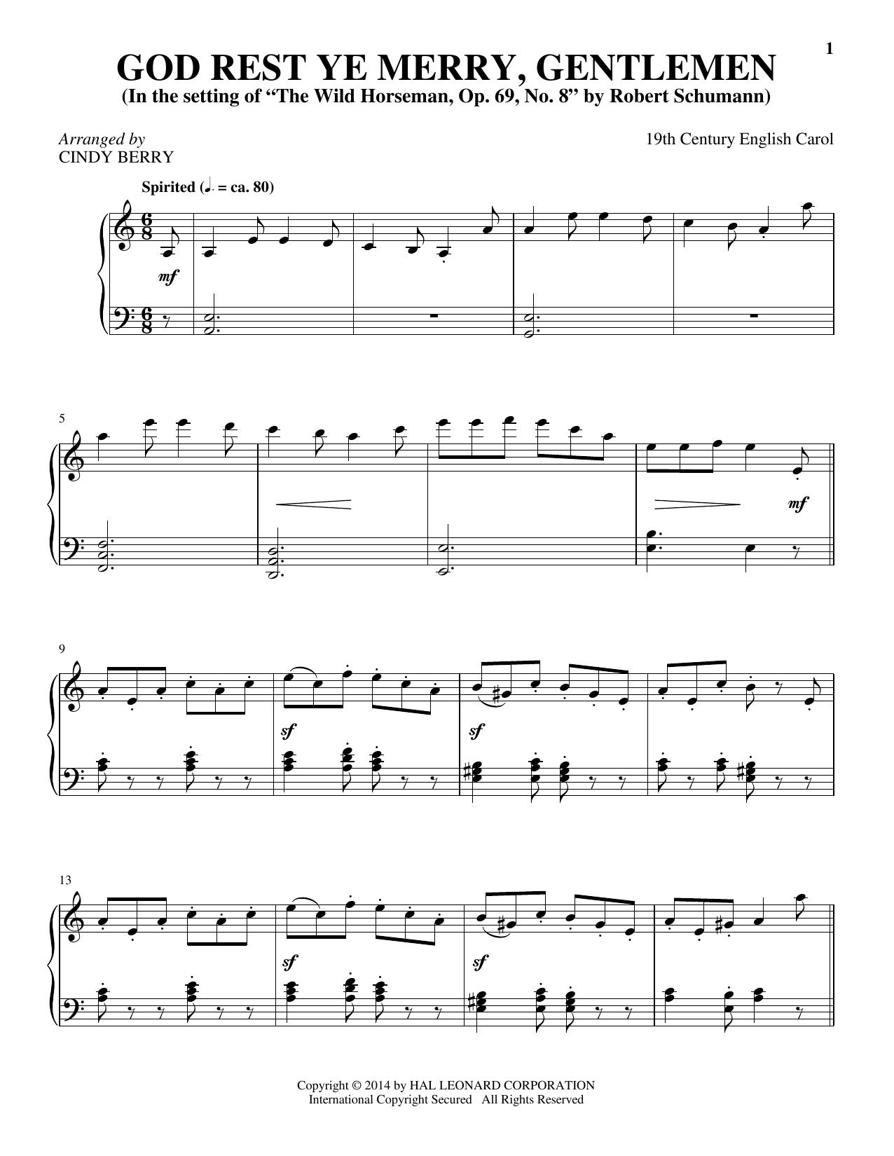 Partition piano God Rest Ye Merry, Gentlemen de Cindy Berry - Piano Solo