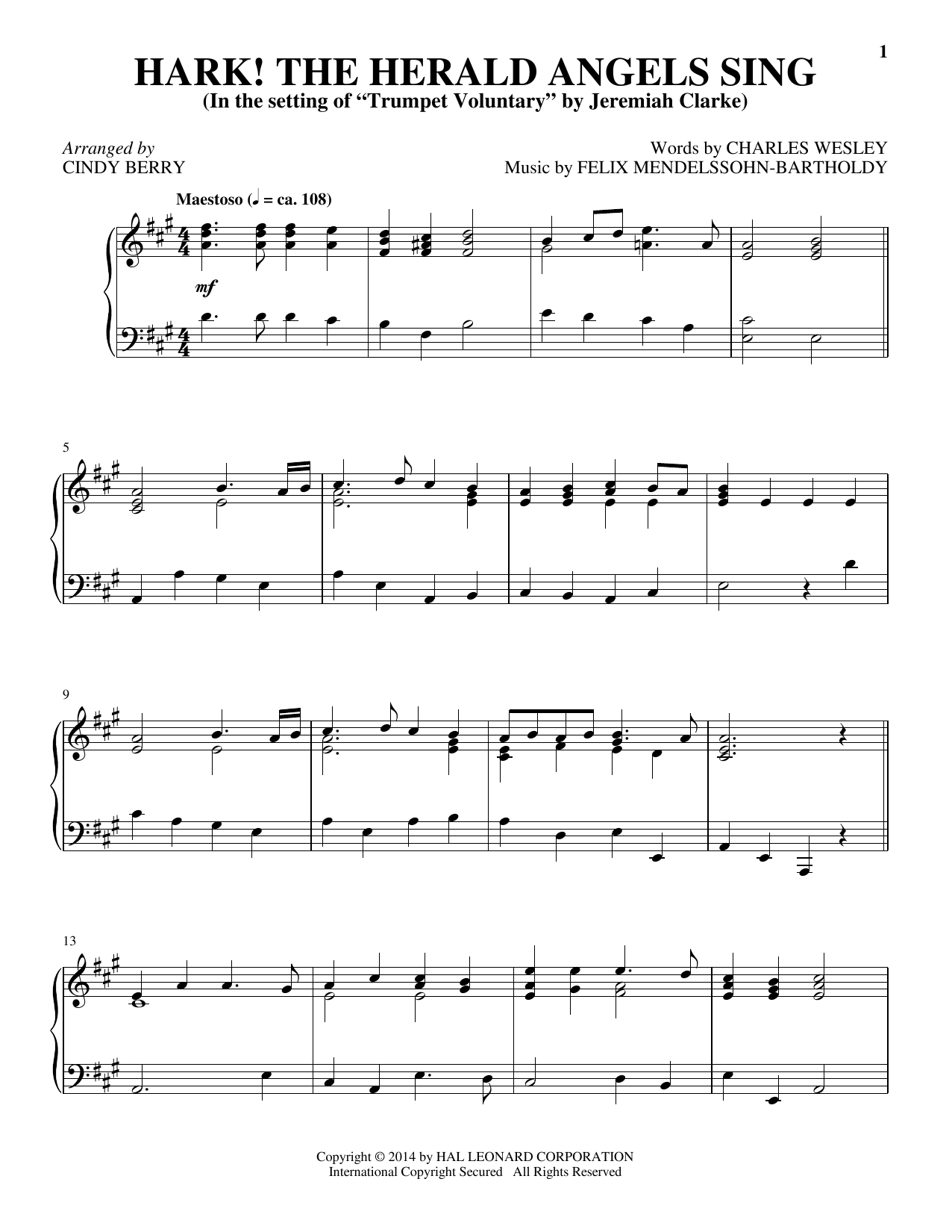 Partition piano Hark! The Herald Angels Sing de Cindy Berry - Piano Solo