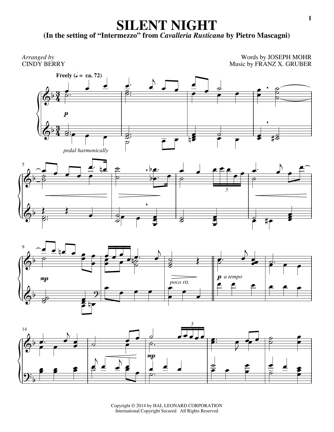 Partition piano Silent Night de Cindy Berry - Piano Solo