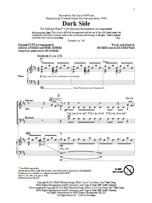 Partition chorale Dark Side (arr. Ed Lojeski) de Glee Cast - SAB