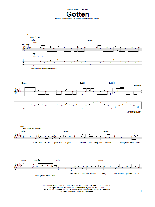 Tablature guitare Gotten de Slash feat. Adam Levine - Tablature Guitare