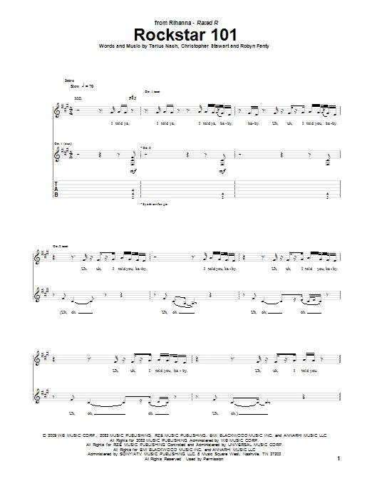 Tablature guitare Rockstar 101 de Rihanna feat. Slash - Tablature Guitare