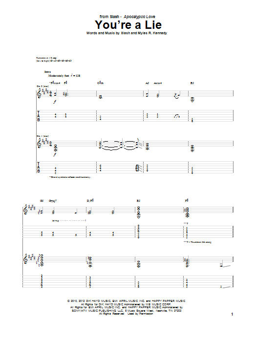 Tablature guitare You're A Lie de Slash feat. Myles Kennedy and The Conspirators - Tablature Guitare