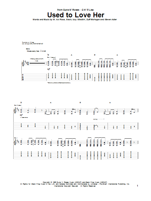 Tablature guitare Used To Love Her de Guns N' Roses - Tablature Guitare
