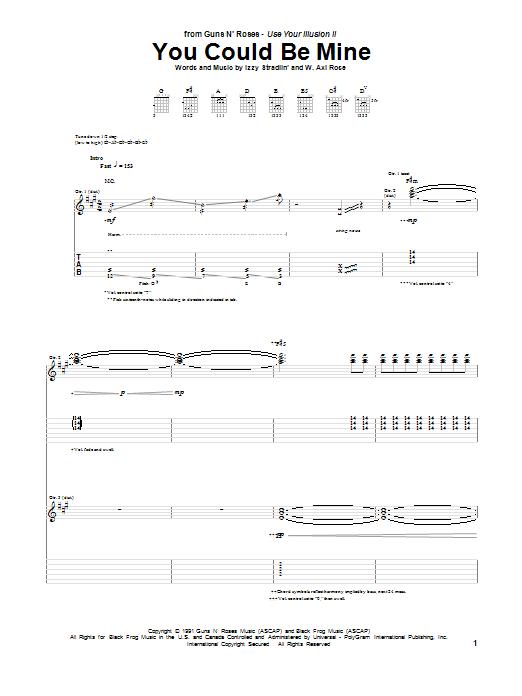 Tablature guitare You Could Be Mine de Guns N' Roses - Tablature Guitare