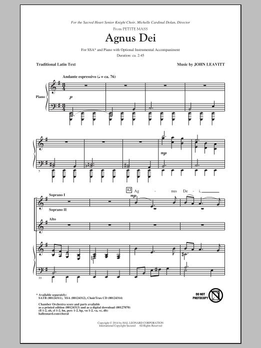 Partition chorale Agnus Dei de John Leavitt - SSA