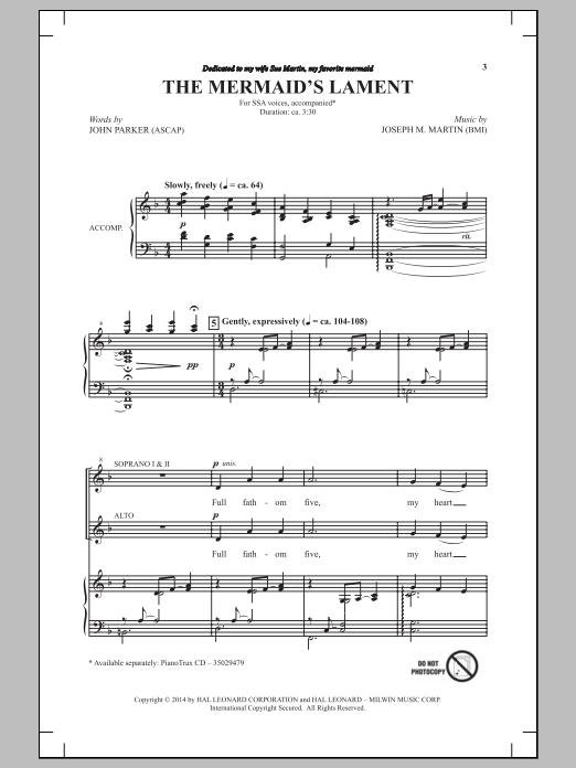 Partition chorale The Mermaid's Lament de Joseph M. Martin - SSA