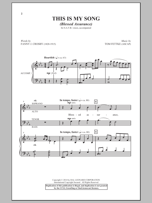 Partition chorale This Is My Song (Blessed Assurance) de Tom Fettke - SATB