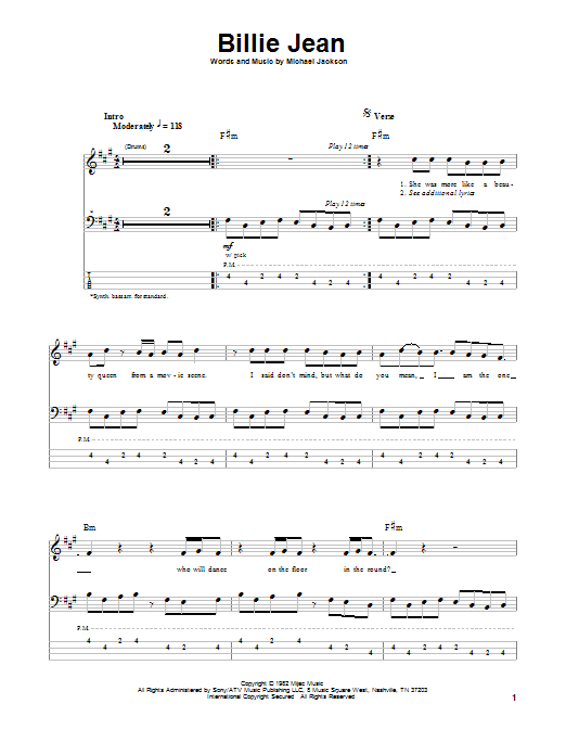 Tablature guitare Billie Jean de Michael Jackson - Tablature Basse