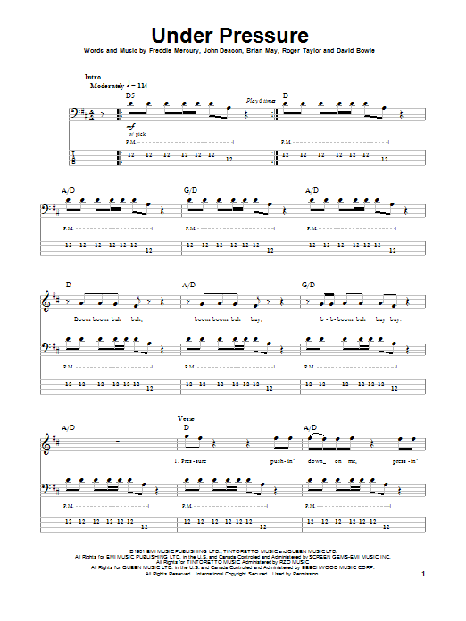 Tablature guitare Under Pressure de Queen - Tablature Basse