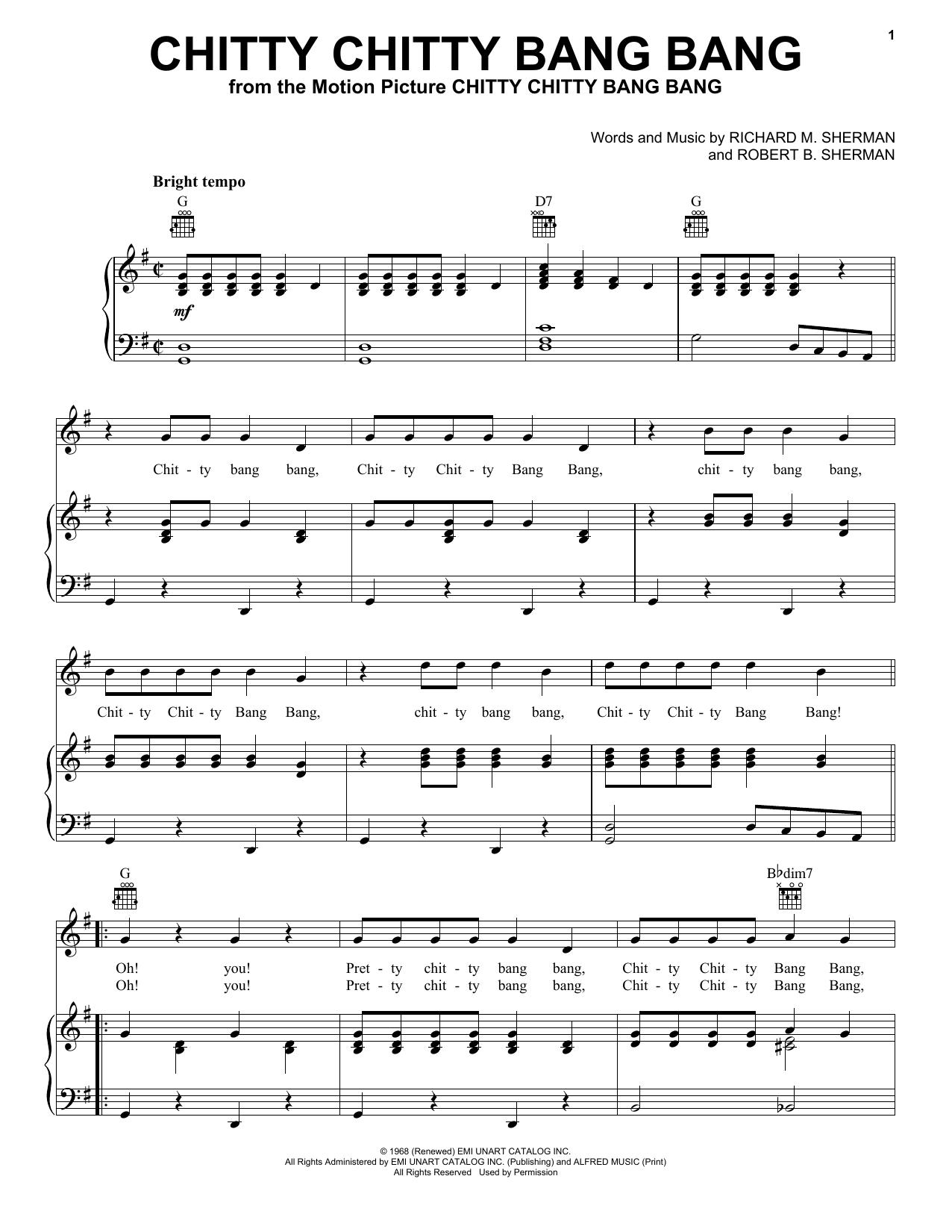 Partition piano Chitty Chitty Bang Bang de Robert B. Sherman - Piano Voix Guitare (Mélodie Main Droite)