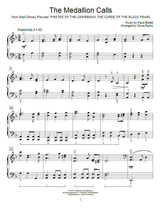 Partition piano The Medallion Calls de Klaus Badelt - Piano Facile