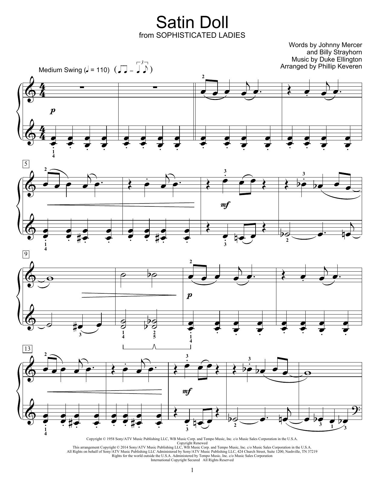 Partition piano Satin Doll de Phillip Keveren - Piano Facile