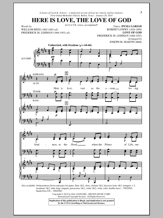 Partition chorale The Love Of God de  - SATB