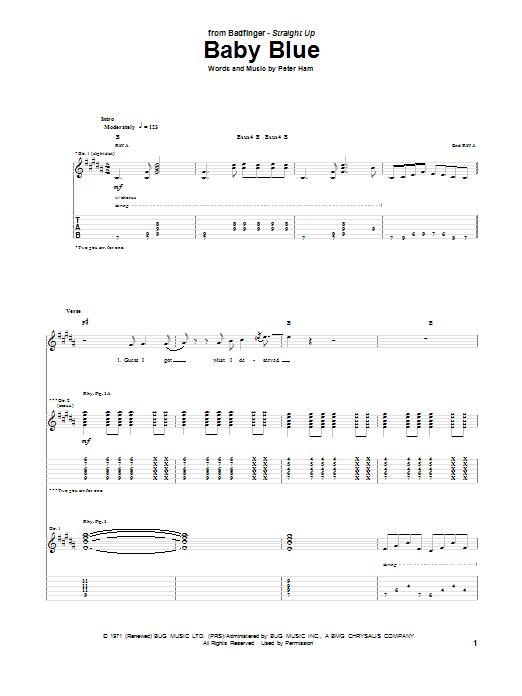 Tablature guitare Baby Blue de Badfinger - Tablature Guitare
