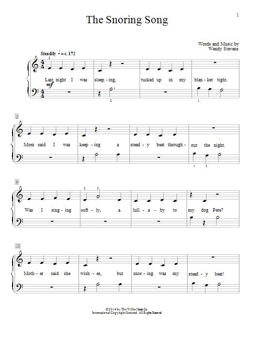 Partition piano The Snoring Song de Wendy Stevens - Piano Facile